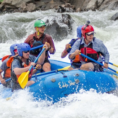 Students rafting through the Clavey Falls rapids on Tuolumne River
