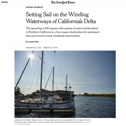 Screenshot of NYT article header, with a photo of a boat on the Delta, and the screenshot snippet of text featuring Peter Moyle's discussion of the Delta